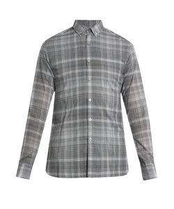 Lanvin | Checked Buttoned-Collar Single-Cuff Shirt
