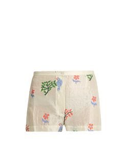 Thierry Colson | Armand Flower And Parrot-Print Silk Shorts