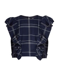 Sea | Ruffled Windowpane-Plaid Cotton Top
