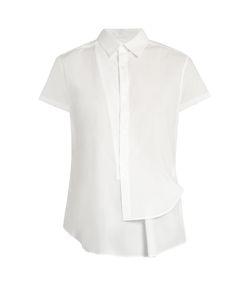 Y'S BY YOHJI YAMAMOTO   Asymmetric Short-Sleeved Cotton Shirt