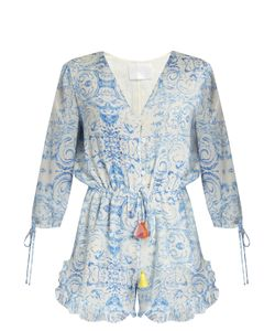 Athena Procopiou   The Midsummers Sky Silk Playsuit