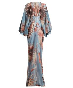 Adriana Degreas | -Print Balloon-Sleeve Silk Maxi Dress