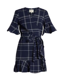 Sea | V-Neck Windowpane-Plaid Cotton Dress
