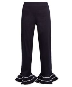 ANNA OCTOBER | Ric-Rac Trimmed Flared-Hem Cropped Trousers