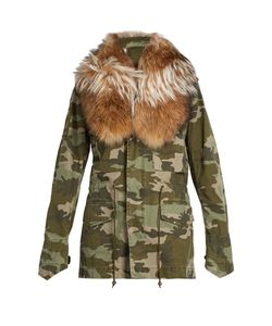 MR & MRS Italy | Detached Fur-Collar Camouflage-Print Parka
