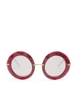 Dolce & Gabbana | Round-Frame Glitter-Acetate Sunglasses