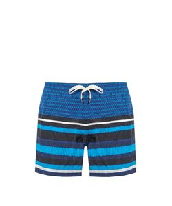 DANWARD | Square And Striped-Print Swim Shorts
