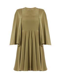 Valentino | Cape-Sleeve Silk Crepe De Chine Dress