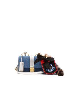 Miu Miu | Racoon-Trimmed Denim Cross-Body Bag