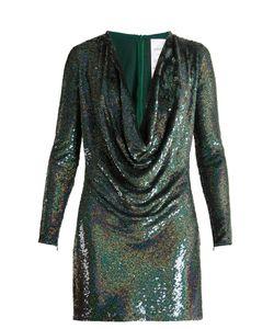 Ashish | Sequin-Embellished Draped-Front Silk Mini Dress