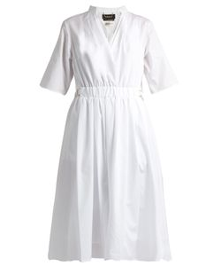 Muveil | V-Neck Gathe Cotton Midi Dress
