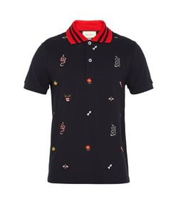 Gucci | Embroidered Cotton-Piqué Polo Shirt