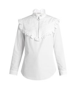 Nina Ricci | High-Neck Ruffled Cotton-Poplin Blouse