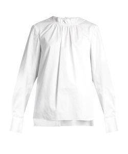 Tibi | Smocked-Neck Cotton-Poplin Top