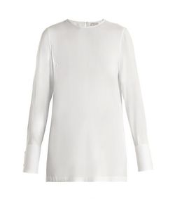 Brunello Cucinelli | Embellished-Cuff Silk-Blend Habotai Blouse
