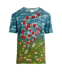 Gucci | Sky And Garden-Print Linen T-Shirt