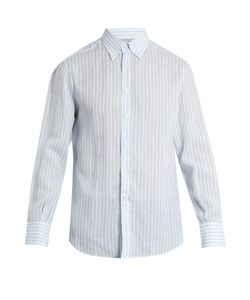 Brunello Cucinelli | Single-Cuff Striped-Linen Shirt