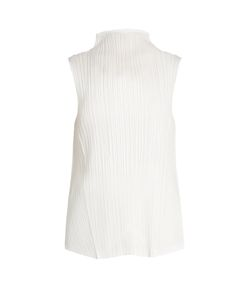 PLEATS PLEASE BY ISSEY MIYAKE | High-Neck Sleeveless Pleated Top