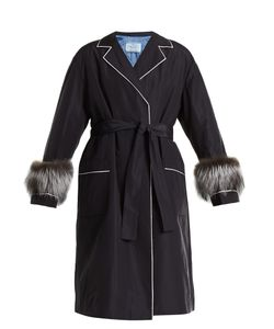 Prada | Fur-Trimmed Tie-Waist Faille Wrap Coat