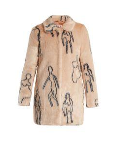 SHRIMPS | Helga Nude Doodles-Print Faux-Fur Coat