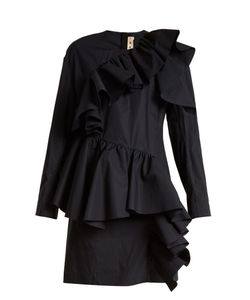 Marni | Gathered-Ruffle Long-Sleeved Cotton Mini Dress