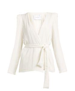 RYAN ROCHE | Belted Wrap-Front Silk Blazer