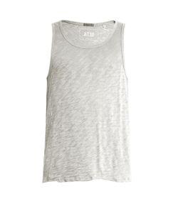 ATM   Distressed-Hem Cotton-Blend Tank Top