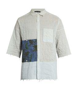 LONGJOURNEY | G Short-Sleeved Striped Cotton Shirt