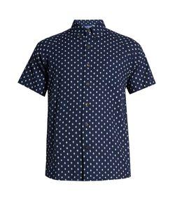 Blue Blue Japan | Diamond-Print Short-Sleeved Cotton Shirt