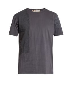 BY WALID | Lace-Insert Cotton-Jersey T-Shirt