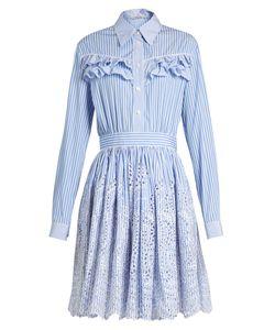 Miu Miu | Striped Ruffle-Trimmed Cotton-Poplin Dress