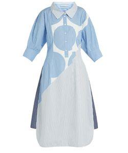 Stella Mccartney   Sandrina Circle-Print Striped Cotton Shirtdress