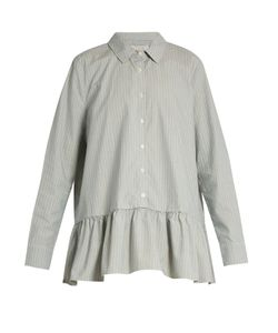 THE GREAT | Striped Ruffle Cotton-Poplin Shirt