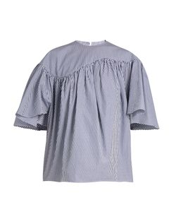 A.W.A.K.E. | Striped Wing-Sleeved Cotton-Poplin Top