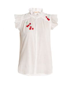BLISS AND MISCHIEF | Cherry-Embroidered Cotton-Voile Shirt