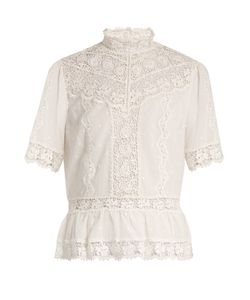 Rebecca Taylor | High-Neck Lace-Trimmed Cotton-Voile Top