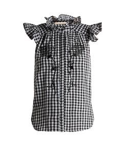 BLISS AND MISCHIEF | -Embroide Gingham Cotton Top