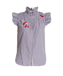 BLISS AND MISCHIEF | Cherry-Embroidered Gingham Cotton Shirt