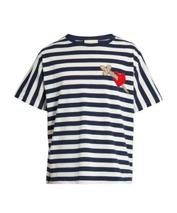 Gucci | Heart And Dagger-Appliqué Striped Cotton T-Shirt