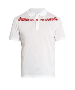 Alexander McQueen | Western Skull-Embroide Cotton Polo Shirt