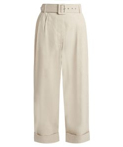 Isa Arfen | Safari Tapered-Leg Cropped Linen-Blend Trousers
