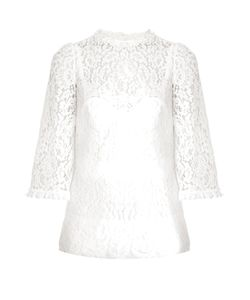 Dolce & Gabbana | Scallop-Edged Hem Lace Blouse
