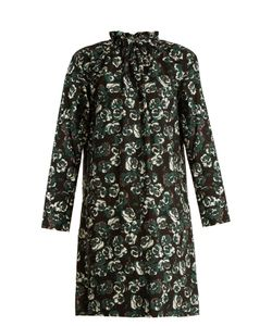 Marni | Poetry Flower-Print Ruffled-Neck Cotton Mini Dress