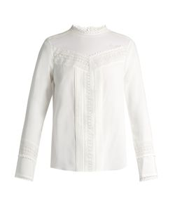 Rebecca Taylor | Lace-Trimmed Stretch-Silk Blouse