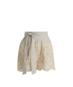 Zimmermann | Meridian Striped Broderie-Anglaise Shorts