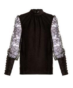 Lanvin   Band-Collar Semi-Sheer Lace Blouse