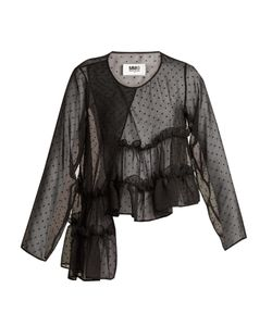MM6 by Maison Margiela | Asymmetric Dobby-Chiffon Top