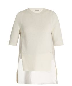 Moncler | Contrast-Panel Round-Neck Cotton Top