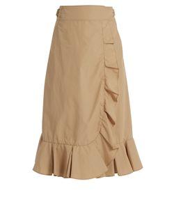 Muveil | Ruffled Cotton-Blend Poplin Wrap Skirt