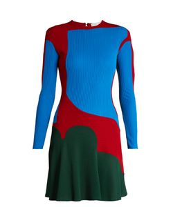 ESTEBAN CORTAZAR | Colour-Block Ribbed-Knit Dress